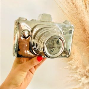VINTAGE Silver Metal Retro Camera Figurine Decor